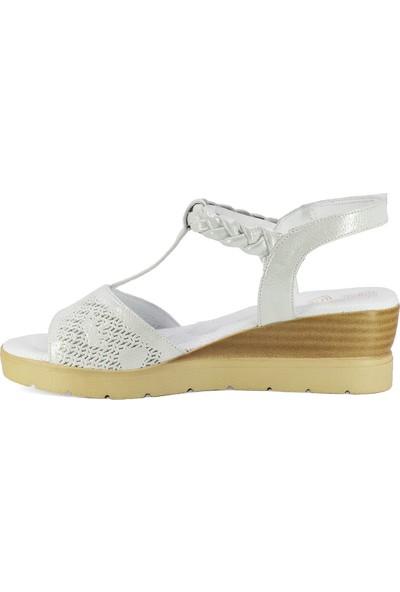 Mammamia D20Ys-1475 Kadın Deri Sandalet Gümüş