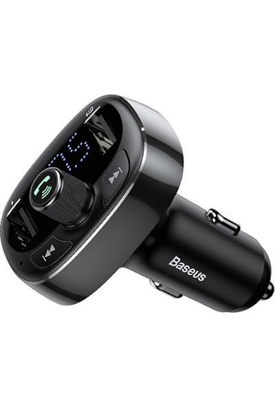 Baseus T Typed S-09 Bluetooth Fm Transmitter Çift Araç Şarj Aleti CALL-TM01