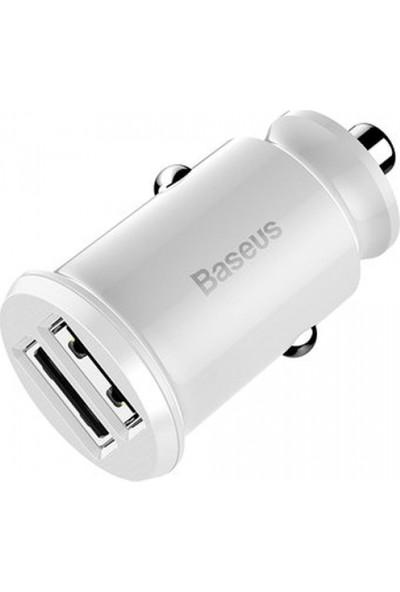Baseus CCALL-ML02 Mini Dual USB 3.1A Max Çıkışlı Hızlı Araç Şarj Başlığı - Beyaz