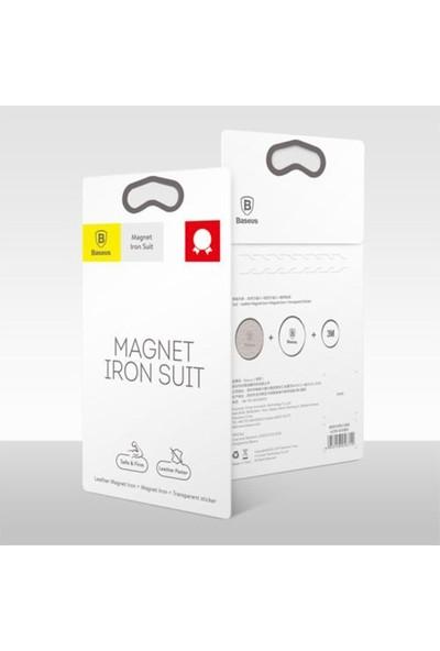 Baseus İron Suit Magnetic Telefon Tutucu Plaka 2 Adet(1 Deri 1 Metal) Gümüş Acdr A0S