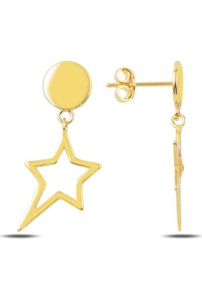 Silverella Gümüş 925 Ayar Çivili Içi Boş Yıldız Küpe