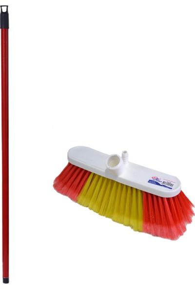 Swab Büyük Boy Oto Yıkama Fırçası Seti (Kırmızı Metal Sap + 20 cm Oto Yıkama Fırçası)