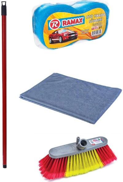 Swab Oto Yıkama ve Temizlik Seti (17 cm Oto Yıkama Fırçası + Kırmızı Metal Sap + Büyük Boy Oto Yıkama Süngeri + Oto Kurulama Bezi)