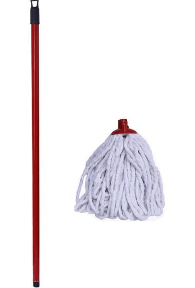 Swab Pamuklu Mop Temizlik Seti (Pamuklu Mop + Kırmızı Metal Sap)