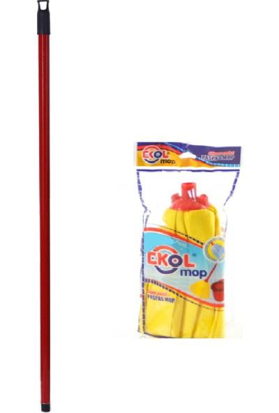 Swab Sarı Viskon Mop Temizlik Seti (Kırmızı Metal Sap + Sarı Viskon Mop)