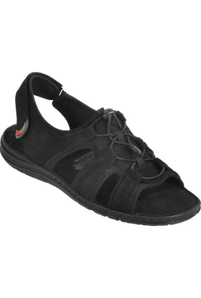 Voyager 4722 Hakiki Deri Siyah Nubuk Erkek Sandalet
