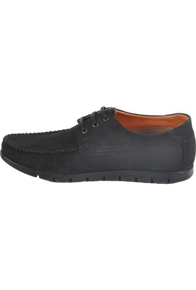 Ayakmod 415 Hakiki Deri Siyah-Nubuk Erkek Günlük Ayakkabı