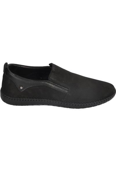 Castle Black 21107 Siyah Erkek Hakiki Deri Günlük Ayakkabı