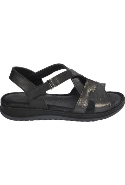 Castle Black 21314 Siyah Kadın Hakiki Deri Sandalet