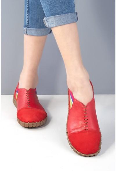 Venüs 20Y 2010703 Kadın Deri Espadril Ayakkabı Kırmızı
