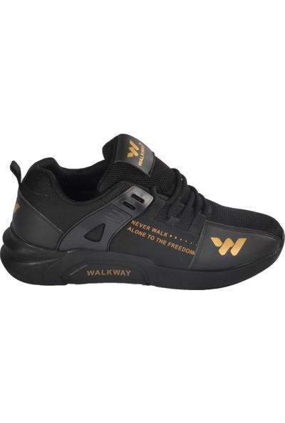 Walkway 1797 Siyah-Altın Erkek Spor Ayakkabı