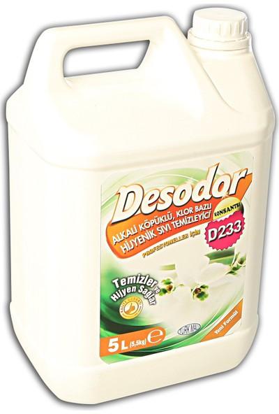 Desodor D233 Alkali Köpüklü, Klor Bazlı Hijyenik Sıvı Temizleyici 5 lt