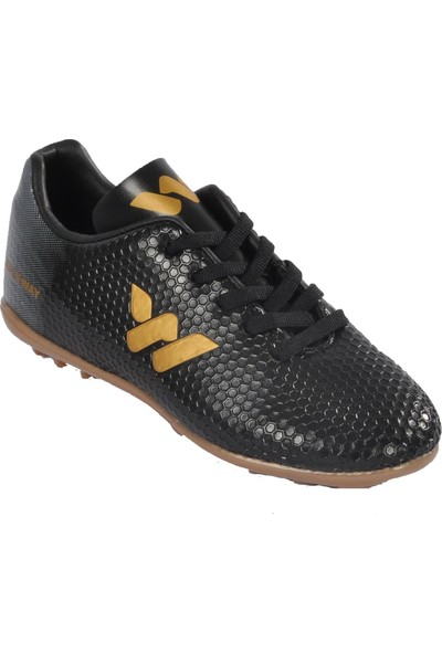 Walkway 023 Siyah-Altın Çocuk Halı Saha Ayakkabı