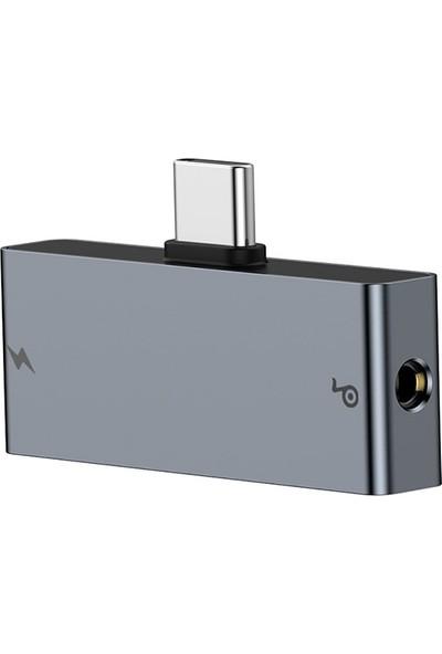 Baseus CATL57-0A L57 USB Type-C 3.5 mm Kulaklık ve Şarj Dönüştürücü Başlık 18W PD - Gri