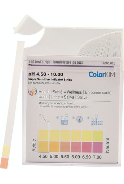 Colorkim Ph 4,5-10 Ölçer Test Kağıtları + Turnisol Ph Test Kiti Çubukları Kutu Içerisinde Ölçüm Çubuğu 100'lü