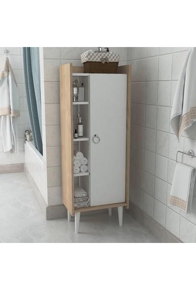 Lagomood Ruby Çok Amaçlı Dolap Banyo Mutfak Beyaz Meşe