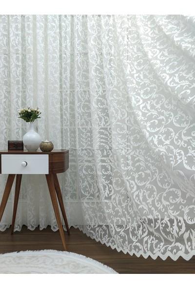 Caserta Home 1/2,5 Orta Pile Sarmaşık Şal Desenli Beyaz Tül Perde 100 x 150 cm