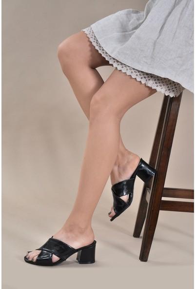 Vizon Kadın Siyah-Yılan-Baskı Terlik VZN20-088Y