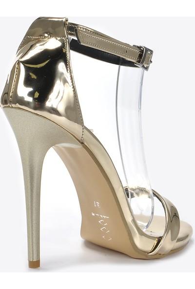 Vizon Kadın Altın-Rugan Klasik Topuklu Ayakkabı VZN20-072Y