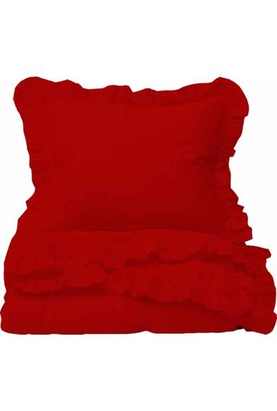 Helen George Vintage Fırfırlı Nevresim Takımı - Kırmızı