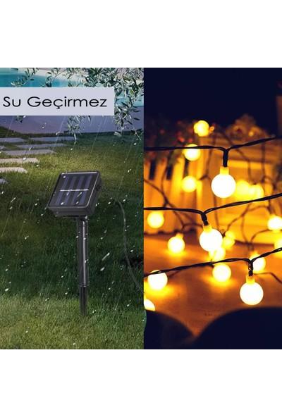 Leddükkanı 30 LED 5 m Sarı Solar Güneş Enerjili Bahçe Teras Balkon Ağaç Lambası Aydınlatması