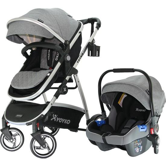 Yoyko City Seyahat Sistem Bebek Arabası 3 İn 1 Gri Silver