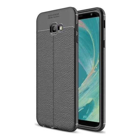 Herdem Samsung Galaxy J4 Plus Kılıf Deri Görünümlü Silikon Kapak Siyah