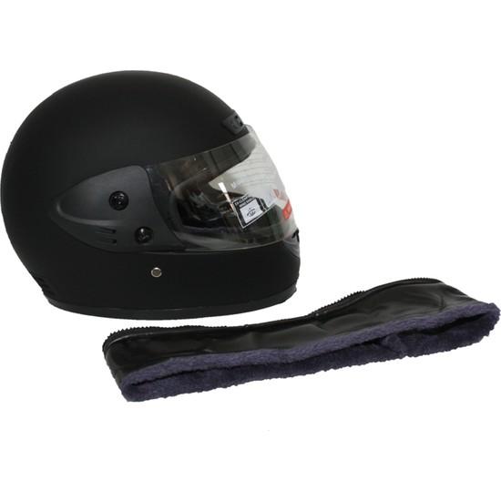 Asm Tam Kapalı Motosiklet Kaskı + Boyun Derili Mat Siyah L