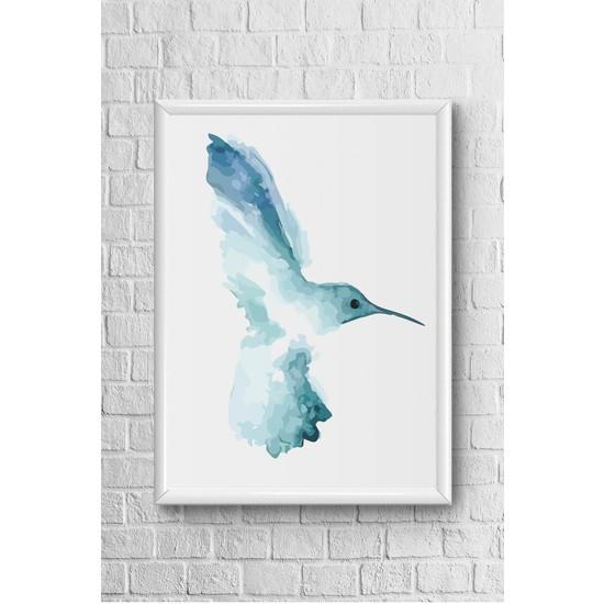 Lyn Home Sağa Bakan Kuş Çerçeveli Poster Tablo 23,5 x 33,5 cm