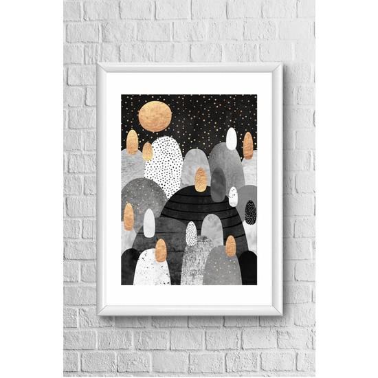Lyn Home Noktalı Yuvarlak Desen Çerçeveli Poster Tablo 23,5 x 33,5 cm