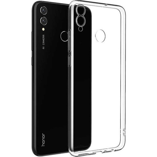 Herdem Huawei Honor 8C Kılıf Süper Silikon Şeffaf