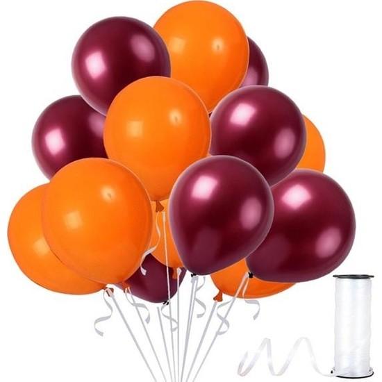 Kullan At Party Bordo-Turuncu Metalik Sedefli Balon