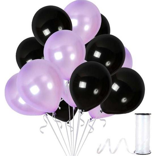 Kullan At Party Lila-Siyah Metalik Sedefli Balon