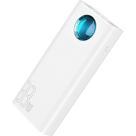Baseus PPLG-02 Amblight 33W (PD3.0+QC3.0) 30000 mAh Dijital Gösterge Hızlı Şarj Powerbank - Beyaz
