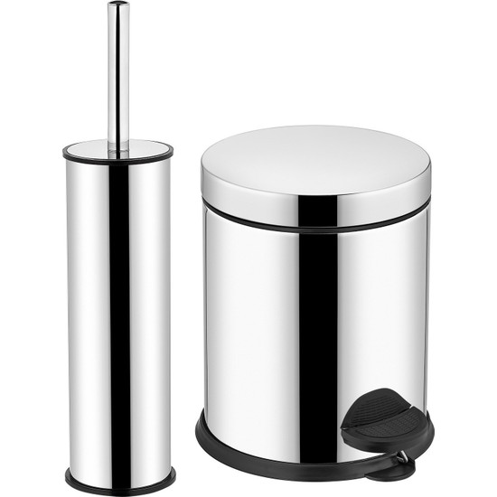 Sas Pedallı Çöp Kovası 3 lt + WC Klozet Fırçası