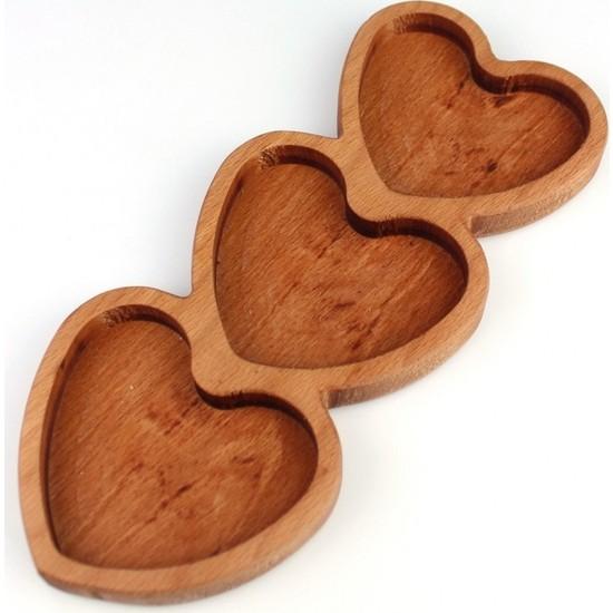 Tym Ahşap 3'lü Kalp 27 x 11 x 1,8 cm