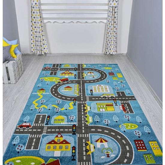 Odeon Halı 3 Boyutlu Mavi Trafik Arabalı Dokuma Çocuk Oyun Halısı 140 x 200 cm