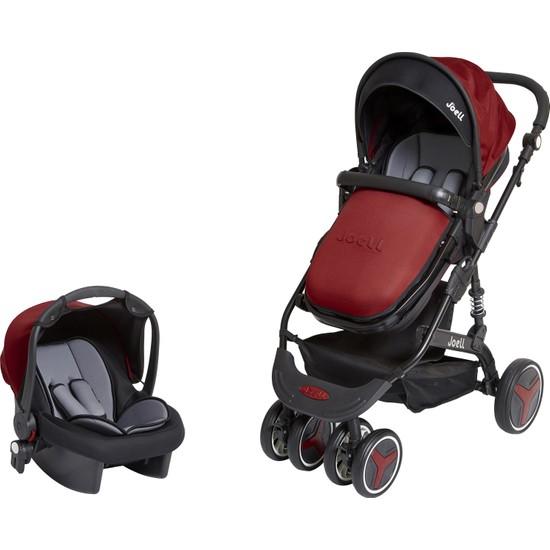 Joell Truva Travel Sistem Bebek Arabası Siyah Bordo