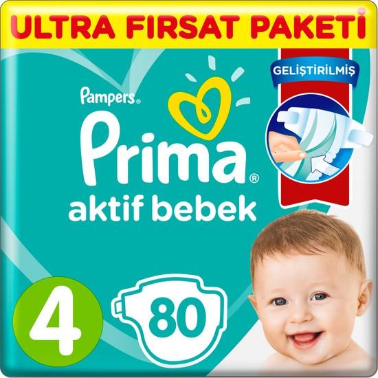 Prima Bebek Bezi Aktif Bebek 4 Beden 80 Adet Ultra Fırsat Paketi