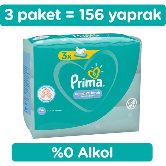 Prima Islak Havlu Temiz Ve Ferah 3'lü Fırsat Paketi 156 Yaprak