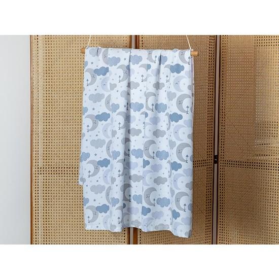Englısh Home Sweet Moon Baskılı Bebe Pike 100 x 150 cm Mavi