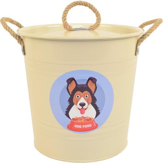 Köpek Maması Saklama Kabı Urgan Kulplu Krem