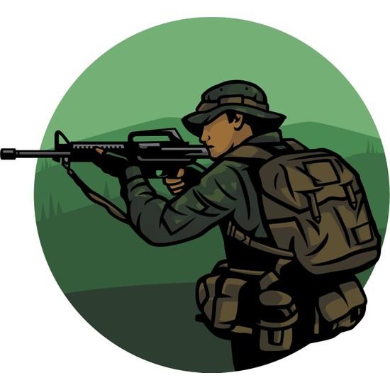 Sticker Fabrikası Asker Tüfek Sticker 00220 13 x 12 cm Renkli