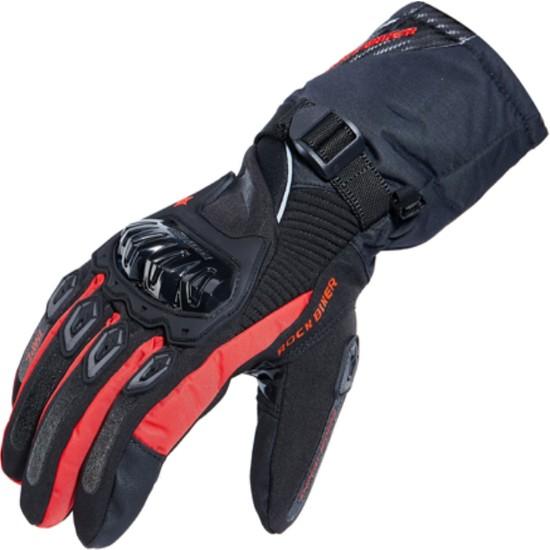 Rock Bıker Eldiven Kışlık Motosiklet Ve Kış Sporları İçin Uygun Medıum Siyah Kırmızı