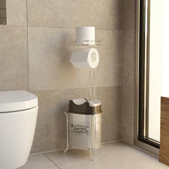 Teknotel Yutan Kapaklı Çöp Kovası ve Tuvalet Kağıtlığı Set
