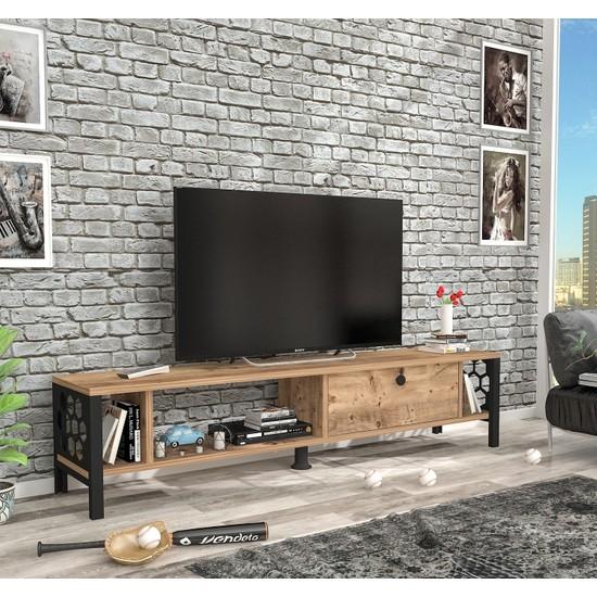 Wood'n Love Defne Tv Ünitesi Atlantik Çam Siyah