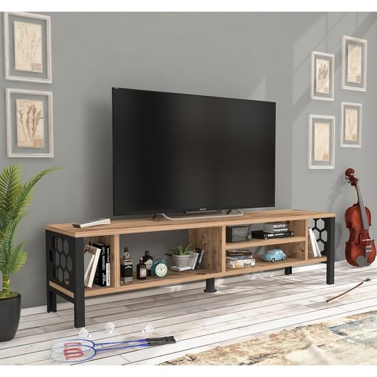 Wood'n Love Mithra 120 cm Metal Ayaklı Tv Ünitesi Atlantik Çam Siyah