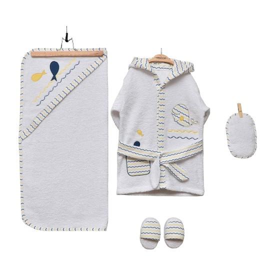 Bebitof Bornoz Seti Erkek Bebek Balina - Beyaz