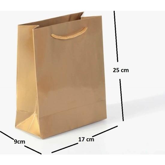 Kraft Çanta Ip Saplı Karton Çanta 25'li 17 x 25 x 9 cm