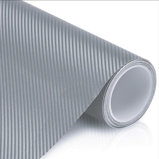 Otografik Karbon Kaplama Folyo Hava Kanallı Gümüş Gri 25 x 100 cm